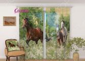 Фототюль Сирень «Лошади»