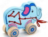 Каталка детская Alatoys «Шнуровка Слоненок»