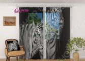 Фототюль Сирень «Два тигра»