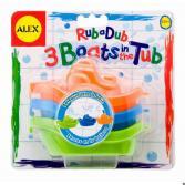 Набор игрушек для ванны Alex «3 цветные лодочки»