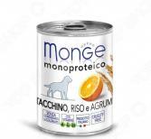 Корм консервированный для собак Monge Monoproteico Fruits «Паштет из индейки с рисом и цитрусовыми»