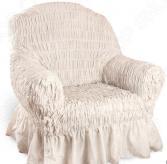 Натяжной чехол на кресло Еврочехол «Фантазия. Белый мрамор»