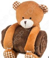 Плед детский с игрушкой Santalino «Мишка в клеточку» 851-013