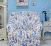 Натяжной чехол на кресло Еврочехол «Цветочная фантазия»