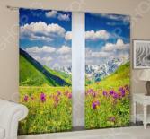 Фотошторы блэкаут Сирень «Альпы и цветы»