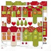 Бумага для скрапбукинга Rayher «Новогодние домики»