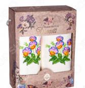 Комплект из 2-х кухонных полотенец Dinosti «Анютины глазки»