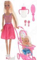 Кукла с аксессуарами Toys Lab «Блондинка в розовом платье на прогулке с семьей»