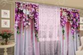 Комплект: фототюль и шторы ТамиТекс «Ламбрикен из цветов»