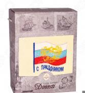 Полотенце махровое подарочное Dinosti «С праздником!». В ассортименте