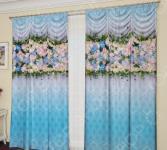 Фотошторы с кулиской ТамиТекс «Бонжур». Цвет: голубой