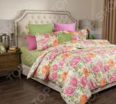 Комплект постельного белья Santalino «Пионы». Цвет: светло-зеленый. Семейный