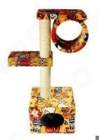 Домик-когтеточка ЗООНИК с 2-мя площадками и трубой. В ассортименте