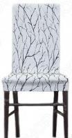 Комплект натяжных чехлов на стул Еврочехол «Ванесса». Рисунок: сакура