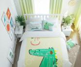 Комплект постельного белья Сирень «Счастливый крокодил». Семейный