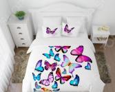 Комплект постельного белья Сирень «Яркие бабочки». Евро