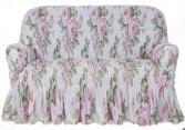 Натяжной чехол на двухместный диван Еврочехол «Фантазия. Чайная роза»