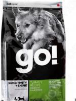 Корм сухой беззерновой для щенков и собак с чувствительным пищеварением Go! Sensitivity Plus Shine. Turkey Recipe