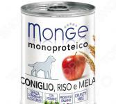 Корм консервированный для собак Monge Monoproteico Fruits «Паштет из кролика с рисом и яблоками»