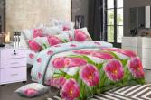 Комплект постельного белья «Цветочный Вальс». 1,5-спальный. Рисунок: тюльпаны