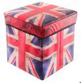 Пуф складной с ящиком для хранения EL Casa «Британский флаг» 31х31х31 см
