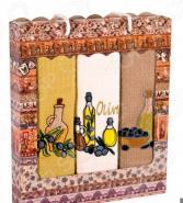 Комплект из 3-х кухонных полотенец Dinosti «Оливковое масло»