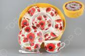 Чайный набор с ложками Elan Gallery «Маки». Количество предметов: 18