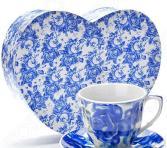 Чайный набор «Сердце красавицы». Рисунок: синие цветы