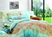 Комплект постельного белья Guten Morgen 577. Цвет: бирюзовый, светло-коричневый. Семейный