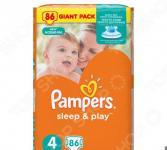 Подгузники Pampers Sleep & Play 8-14 кг, размер 4, 86 шт.