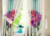 Шторы для кухни «Букет цветов»