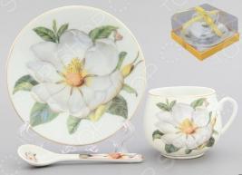 Чашка кофейная с блюдцем и ложкой Elan Gallery «Белый шиповник»