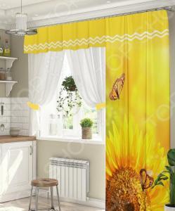 Комплект штор для окна с балконом ТамиТекс «Желтое море»