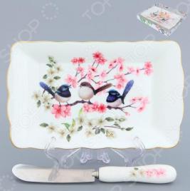 Тарелка под масло Elan Gallery «Райские птички»