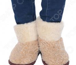 Чуни из овечьей шерсти WOOLLAMB «Антарктида». Цвет: бежевый, коричневый