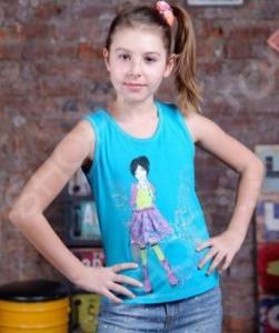 Майка для девочек Detiland SS15-UBL-GTP-951. Цвет: бирюзовый