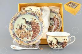 Чайная пара с ложками Elan Gallery «Павлин на бежевом» 730424