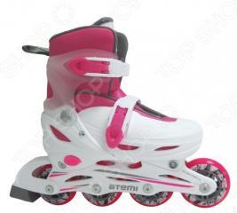 Детские роликовые коньки ATEMI AJIS-12.05 Neon hard boot white/pink
