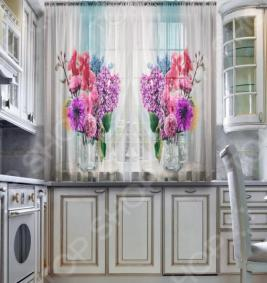 Тюль для кухни «Букет цветов»