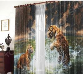 Фотошторы блэкаут Zlata Korunka «Два тигра»