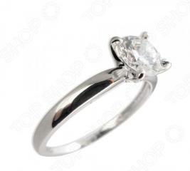 Серебряное кольцо с фианитом Andreana «Раунд»