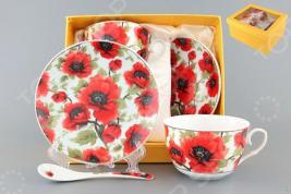 Чайная пара с ложками Elan Gallery «Маки» 730478