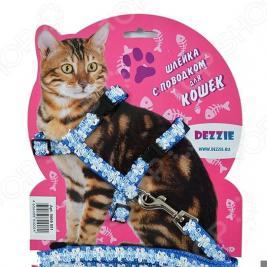 Набор для кошек: шлейка и поводок DEZZIE «Флаффи». Цвет: голубой