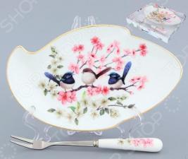 Тарелка для лимона с вилкой Elan Gallery «Райские птички»