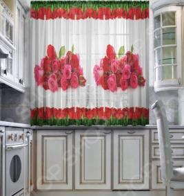 Тюль для кухни «Символ любви»