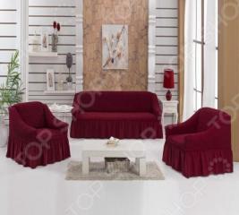 Натяжные чехлы на трехместный диван, двуспальную кровать и чехлы на 2 кресла Karbeltex с оборкой. Цвет: бордовый