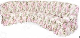Натяжной чехол на классический угловой диван Еврочехол «Фантазия. Чайная роза»
