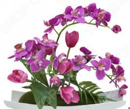 Декоративные цветы Dream Garden «Орхидея сиреневая c тюльпанами» на подставке