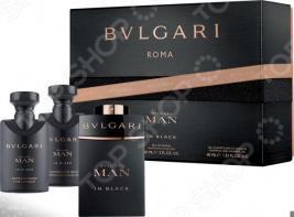 Набор мужской: парфюмерная вода, бальзам после бритья, гель для душа и шампунь BVLGARI Man In Black, 40 мл, 60 мл