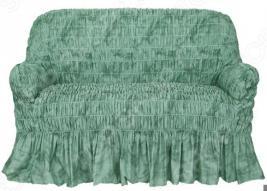 Натяжной чехол на двухместный диван Еврочехол «Фантазия. Зеленый»